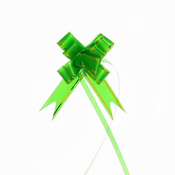 Бант бабочка зеленый с золотой полоской, 26 см купить оптом и в розницу
