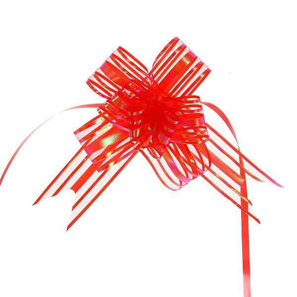 Бант-бабочка полоски красные, набор 10 шт, 50 см купить оптом и в розницу