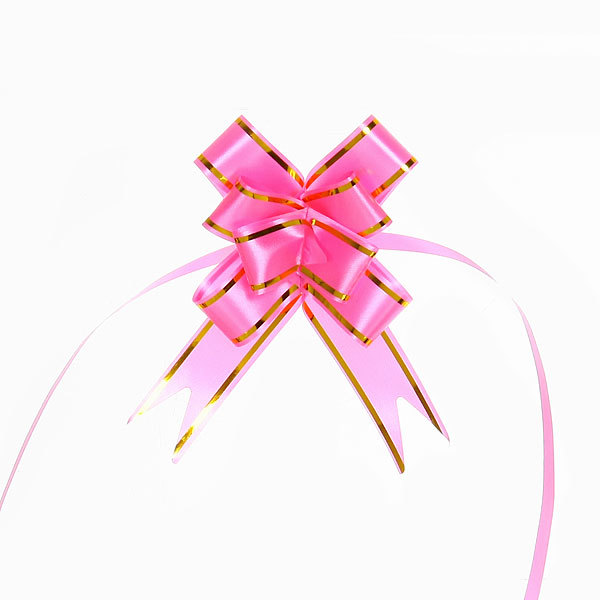 Бант-бабочка розовый с золотыми полосками, набор 10 шт, 42 см купить оптом и в розницу