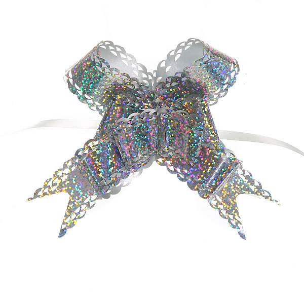 Бант-Бабочка ″Голограмма ажур″ (набор 10шт) №30 серебро 47см 38 купить оптом и в розницу