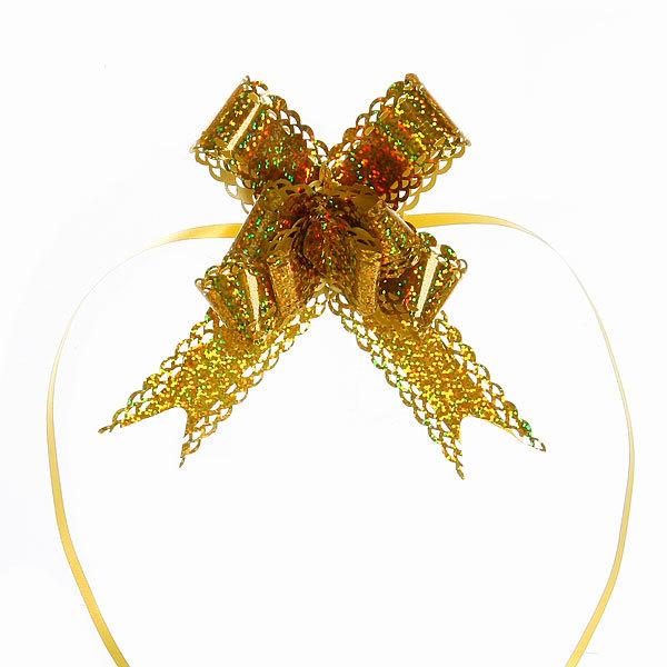 Бант-Бабочка ″Голограмма ажур″ (набор 10шт) №30 золото 47см 39 купить оптом и в розницу