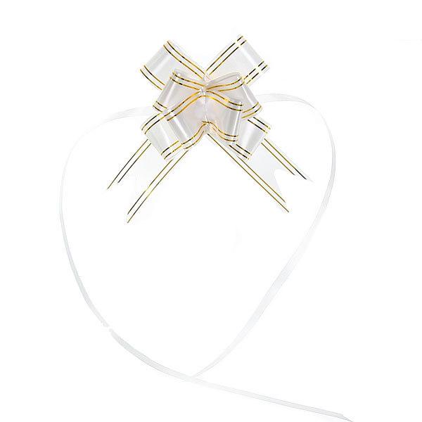 Бант-бабочка белый с золотыми полосками, набор 10 шт, 47 см купить оптом и в розницу