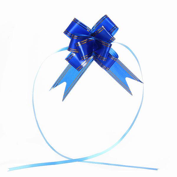 Бант-бабочка синий с золотыми полосками, набор 10 шт., 47 см купить оптом и в розницу