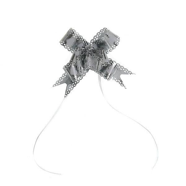 Бант-бабочка ажурный, серебристый, набор 10 шт., 46 см купить оптом и в розницу