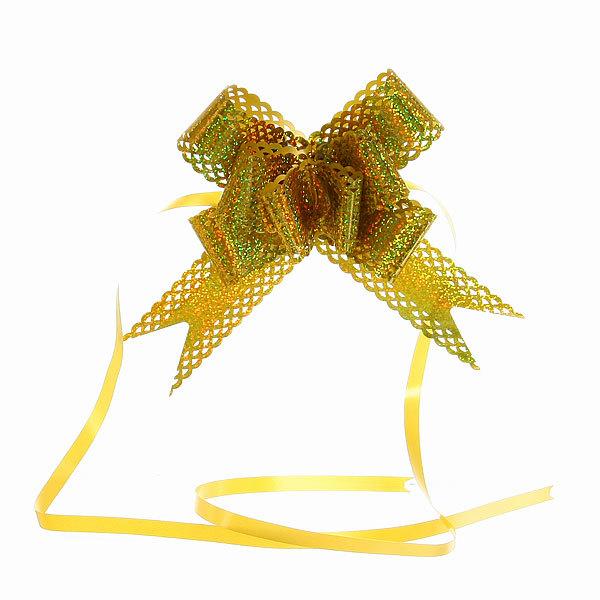 Бант-бабочка ажурный, голограмма золотая, набор 10 шт., 73 см купить оптом и в розницу