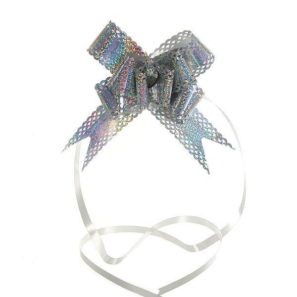 Бант-бабочка ажурный, голограмма, серебристый, набор 10 шт., 73 см купить оптом и в розницу