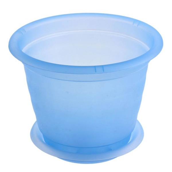 Горшок для орхидеи D 190 mm с подставкой №3 голубой прозрачный *40 купить оптом и в розницу