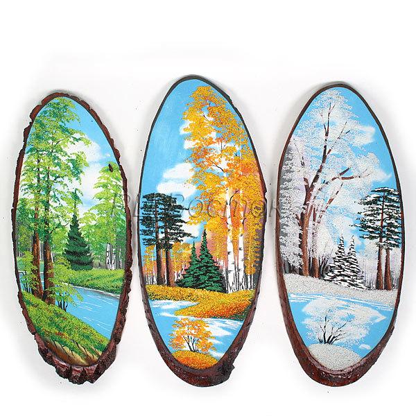 Панно из натурального камня на срезе дерева 60-64 см купить оптом и в розницу