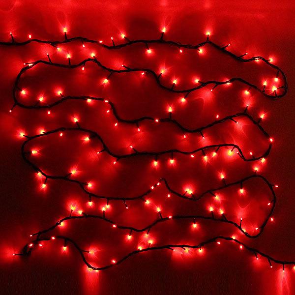 Гирлянда светодиодная уличная 20 м, 300 ламп LED, Красный, 8 реж, черн.пров. купить оптом и в розницу