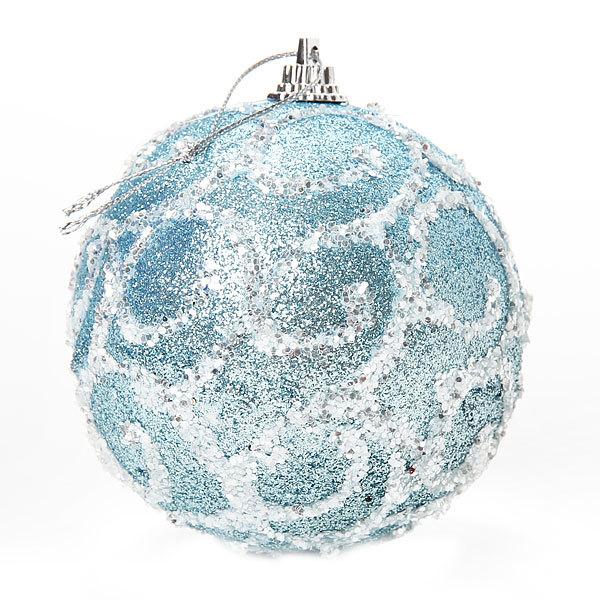 Новогодние шары ″Лед с узорами″ 8см (набор 2шт.) купить оптом и в розницу