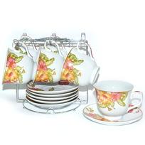 Набор чайный 12 предметов на металлической подставке ″Мак″ (6 чашек, 6 блюдец) купить оптом и в розницу