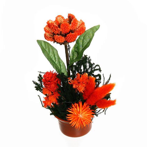 Цветок искусственный в горшочке ″Нежный букетик оранжевый″ 15 см 0802В5 купить оптом и в розницу