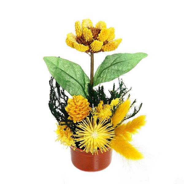 Цветок искусственный в горшочке ″Нежный букетик желтый″ 15 см 0802В3 купить оптом и в розницу