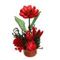 Цветок искусственный в горшочке ″Нежный букетик бордовый″ 15 см 0802В4 купить оптом и в розницу