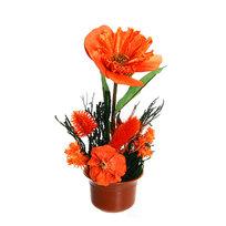 Цветок искусственный в горшочке ″Нежный букетик оранжевый″ 16 см 0803В5 купить оптом и в розницу