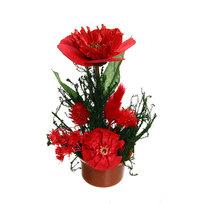 Цветок искусственный в горшочке ″Нежный букетик бордовый″ 16 см 0803В4 купить оптом и в розницу