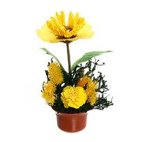Цветок искусственный в горшочке ″Нежный букетик желтый″ 16 см 0803В3 купить оптом и в розницу
