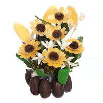 Цветок искусственный в горшочке ″Нежный букетик желтый″ 29 см Т078 купить оптом и в розницу