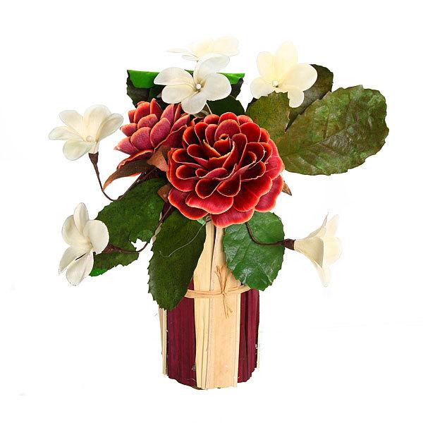 Цветок искусственный в горшочке ″Нежный букетик бордовый″ 31 см Т035 купить оптом и в розницу