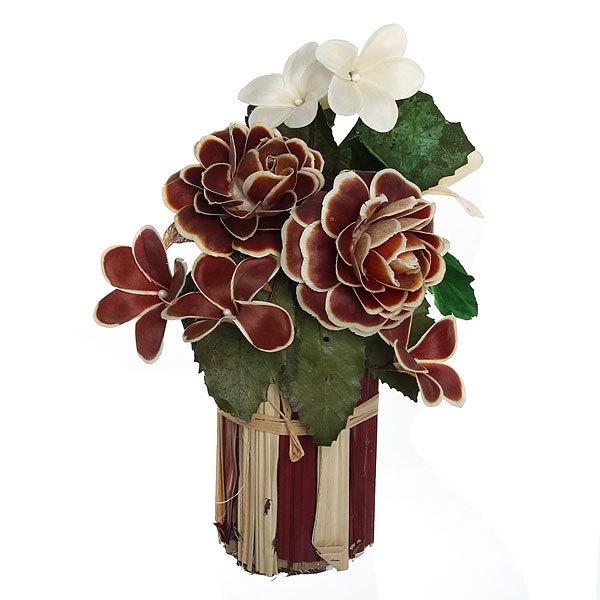 Цветок искусственный в горшочке ″Нежный букетик коричневый″ 31 см Т035 купить оптом и в розницу
