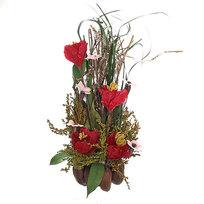 Цветок искусственный в горшочке ″Нежный букетик бордовый″ 32 см Т039 купить оптом и в розницу