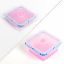 Контейнер силиконовый складной 700 мл с пластиковой крышкой 13*15*7 см XF9201-1 купить оптом и в розницу
