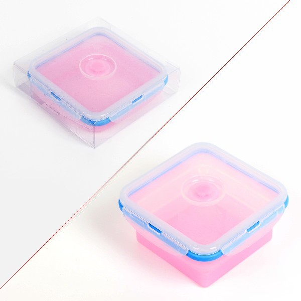Контейнер силиконовый складной 700 мл с пластиковой крышкой 13*15*7 см купить оптом и в розницу