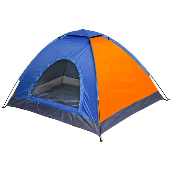Палатка кемпинговая 3-местная 1-слойная, цвет оранжево-синий, 195*195*130 купить оптом и в розницу