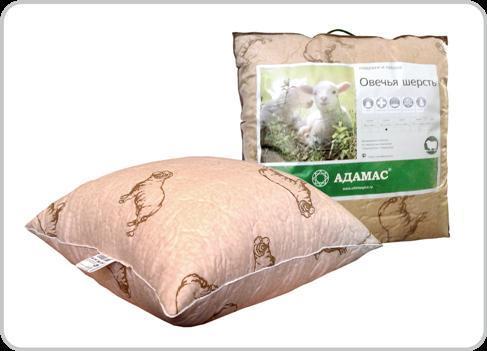 Подушка 50х70 овеч.шерсть в п/э Адамас инд,сумка купить оптом и в розницу