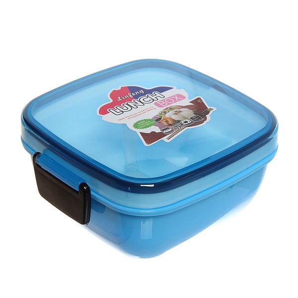 Ланч-бокс пластиковый с тарелкой и ложкой 14*14*8см купить оптом и в розницу