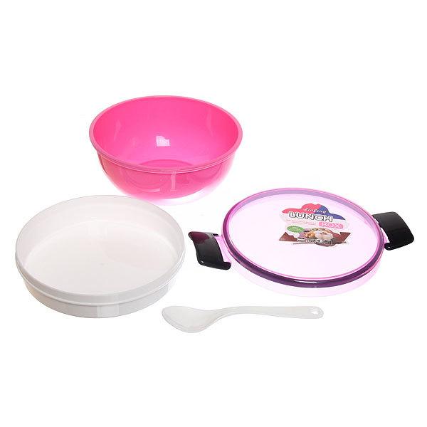 Ланч-бокс пластиковый с тарелкой и ложкой 15*8см купить оптом и в розницу