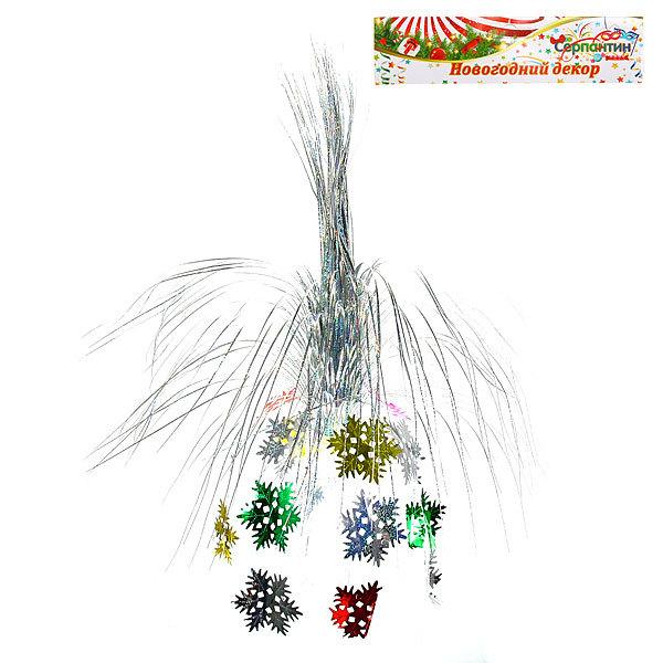 Украшение новогоднее фольгированное Фонтан Снежинки 60см 9222-28 купить оптом и в розницу
