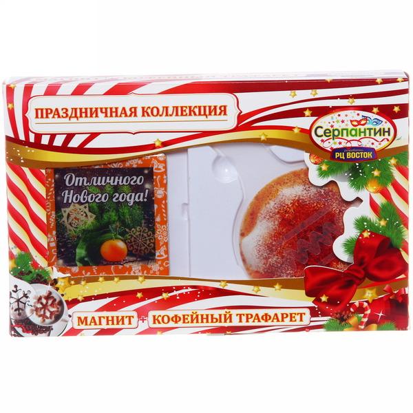 Набор магнит и кулинарный трафарет ″Отличного Нового года!″, Мандарин и деревянные снежинки Вкус праздника купить оптом и в розницу
