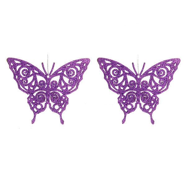 Елочные игрушки, набор 2шт, 10см ″Бабочки резные блестящие″ купить оптом и в розницу