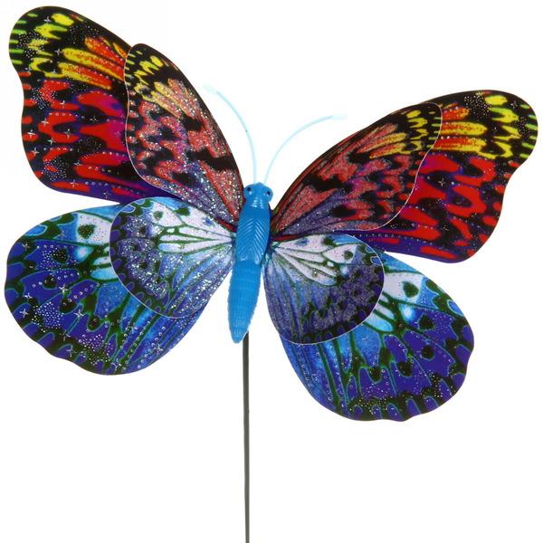 Статуэтка садовая на спице ″Бабочка объемная c блестками″ 14,5см купить оптом и в розницу
