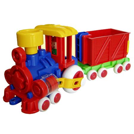 Паровозик Ромашка Детский сад с одним вагоном С-118-Ф /8/ купить оптом и в розницу