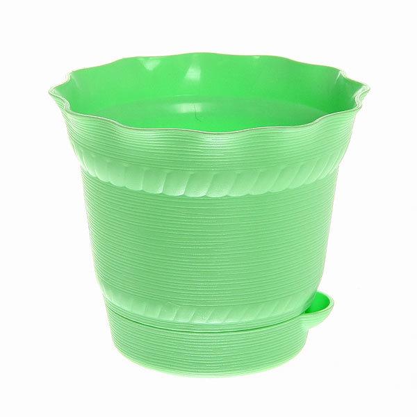 Горшок для цветов AQUARELLE с системой прикорневого полива 1,0 л. 902-1 Зеленый купить оптом и в розницу