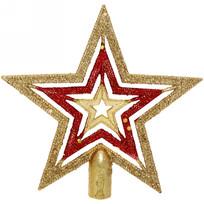 Звезда на ёлку 15 см ″Красный блеск″ золото купить оптом и в розницу