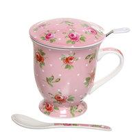 Чайный набор 4 предмета (кружка 300мл с крышкой, ситечко, ложка) К818-102 купить оптом и в розницу