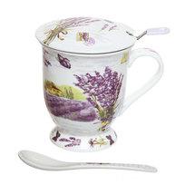 Чайный набор 4 предмета (кружка 300мл с крышкой, ситечко, ложка) К818-8 купить оптом и в розницу