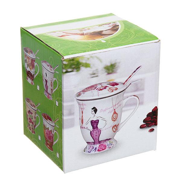 Чайный набор 4 предмета (кружка 300мл с крышкой, ситечко, ложка) ″Букет″ купить оптом и в розницу