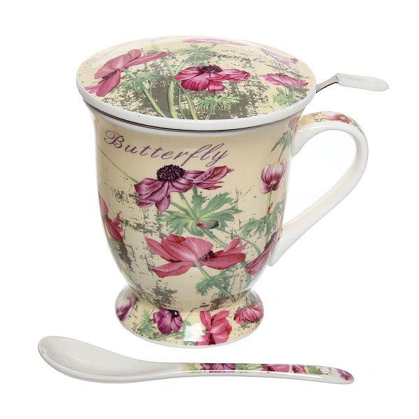 Чайный набор 4 предмета (кружка 300мл с крышкой, ситечко, ложка) К818-36 купить оптом и в розницу