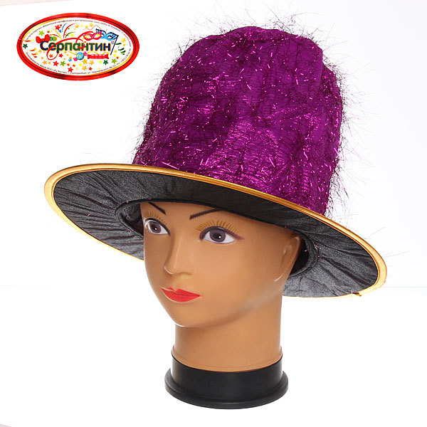 Шляпа карнавальная ″Цилиндр Клоун блеск 6020-2 купить оптом и в розницу