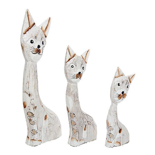 Фигурки из дерева ″Кошки″, 25,20,15 см, албезия купить оптом и в розницу