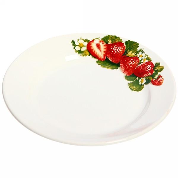 Тарелка керамическая 20 см мелкая Клубника (26/26) СК_056 Д евро купить оптом и в розницу