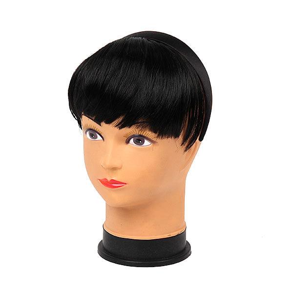 Волосы накладные ″Челка на ободке″ черный цв 131-1 купить оптом и в розницу