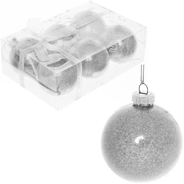 Новогодние шары (6шт) d-6см серебро S-12075/S купить оптом и в розницу