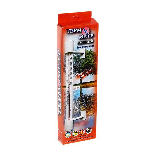 Термометр оконный(стеклянный) на липучке, мод.Т-5,картонная коробка (Р) купить оптом и в розницу