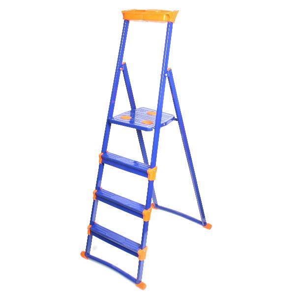 Стремянка металлическая 4 ступени, высота до платформы 860 мм, вес 6 кг, до 150 кг, для рыхлых поверхностей СМ4+ НИКА купить оптом и в розницу