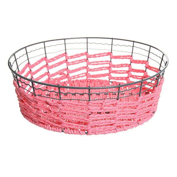 Корзинка плетёная с металлическим ободом круглая 24см купить оптом и в розницу